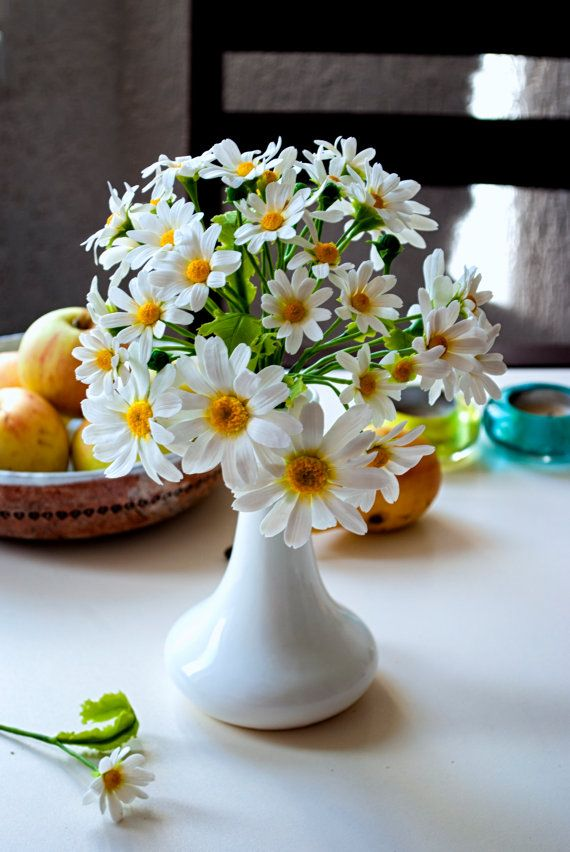 Daisy flowers arrangement, Camomile, Faux flowers, Artificial daisies, Wildflowers centerpiece, Cold porcelain flower, Polymer clay, Rustic