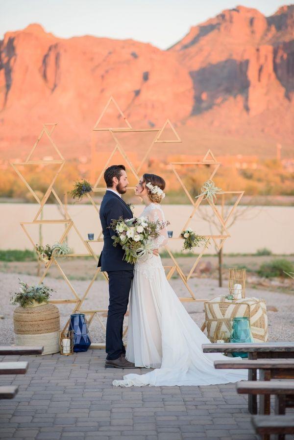 Geometric Backdrop|Modern Southwestern Wedding in Serenity & Rose Quartz|Photographer: The Amburgeys