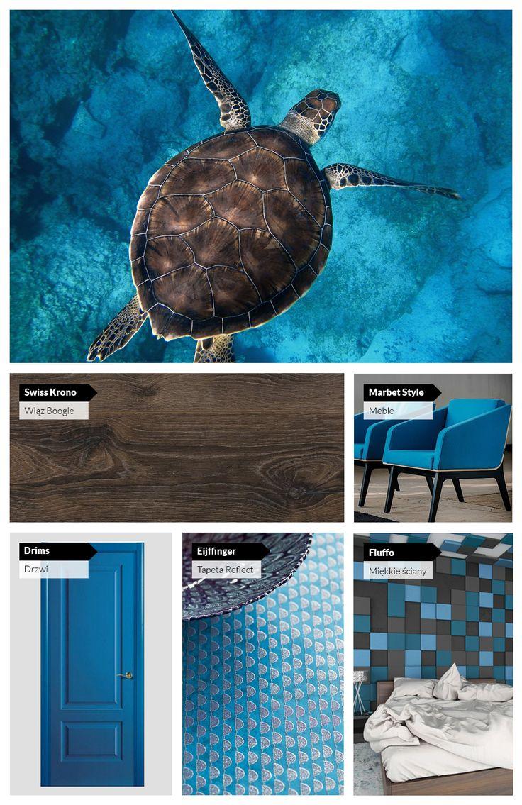 Pomysł na wnętrze w turkusowo-niebieskich odcieniach.    An idea for blue and brown interior.