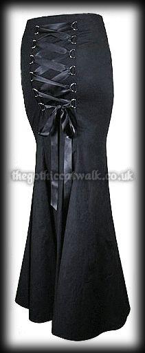 Plus Size Long Black Gothic Fishtail Corset Skirt