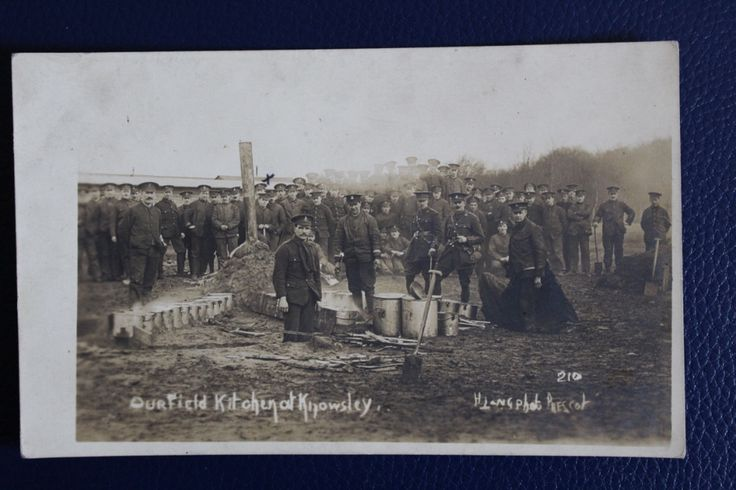 WW1 Photographic Postcard - Kings Liverpool Regiment Knowsley Field Kitchen, £3.50