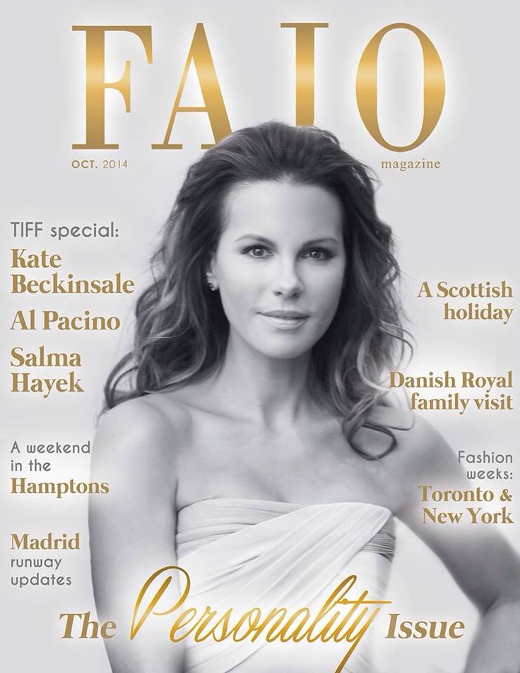 Cover for Fajo Magazine Tara West Photography Kate Beckinsale, Actress