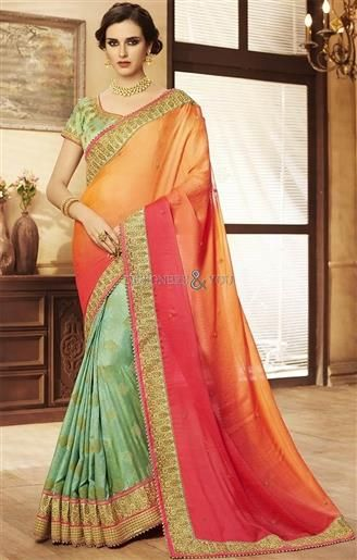 54e9053d45d30f  Order Now Contrast Two Tone Lace  Embroidery Worked Orange-Green  Saree   Blouse. This  Sari Set Consists Short Sleeves