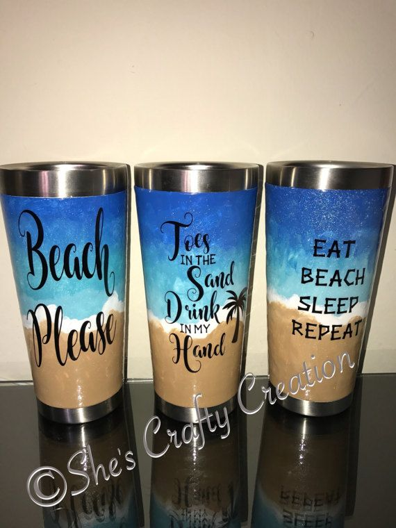 Hand Painted Beach Themed Tumblers