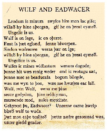 """The poem """"Wulf and Eadwacer"""" in its original Old English."""