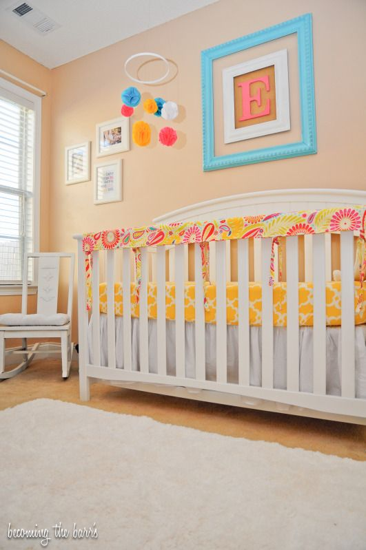 Yellow nursery diy : Coral yellow nursery  pink turquoise with diy ...