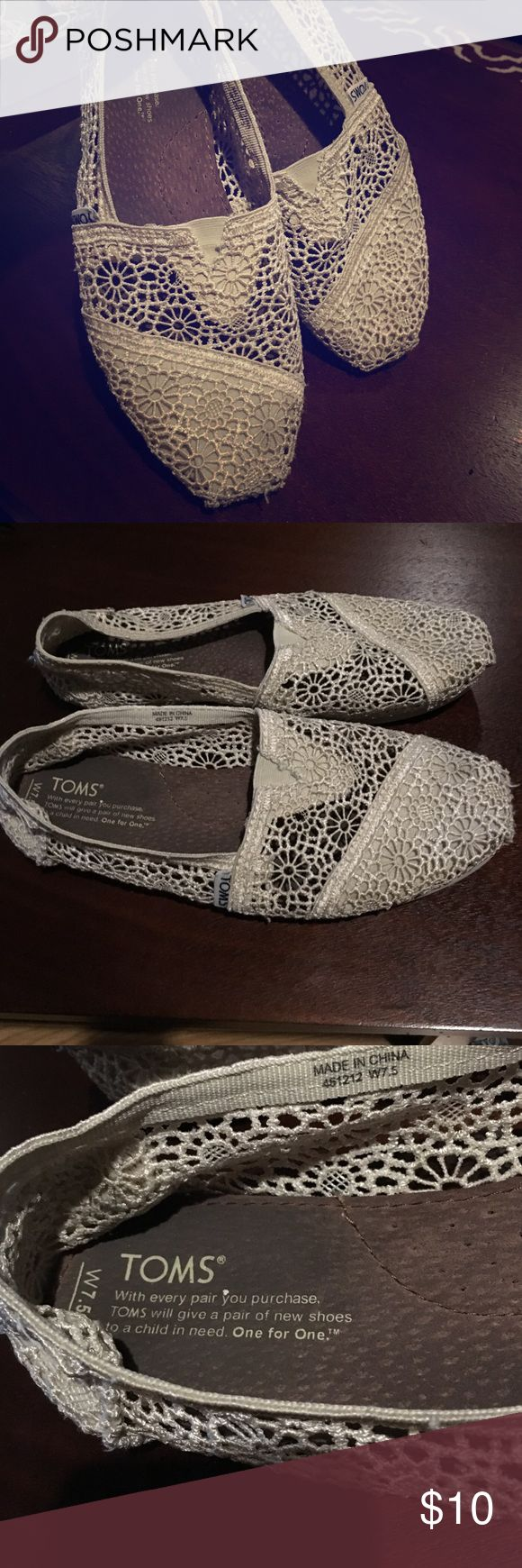 Cream Lace Toms Lace and Floral designs, white/cream Toms • Used, but washed • TOMS Shoes