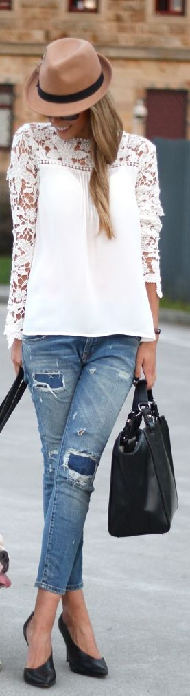 White Crochet Lace Panel Blouse - Choies.com
