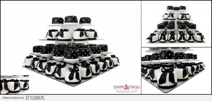 Biało-czarne mini cakes, babeczki, ciasteczka, słodki stół, biało-czarny tort weselny, mini cakes, event, przyjęcie, szwedzki stół, Tarnów