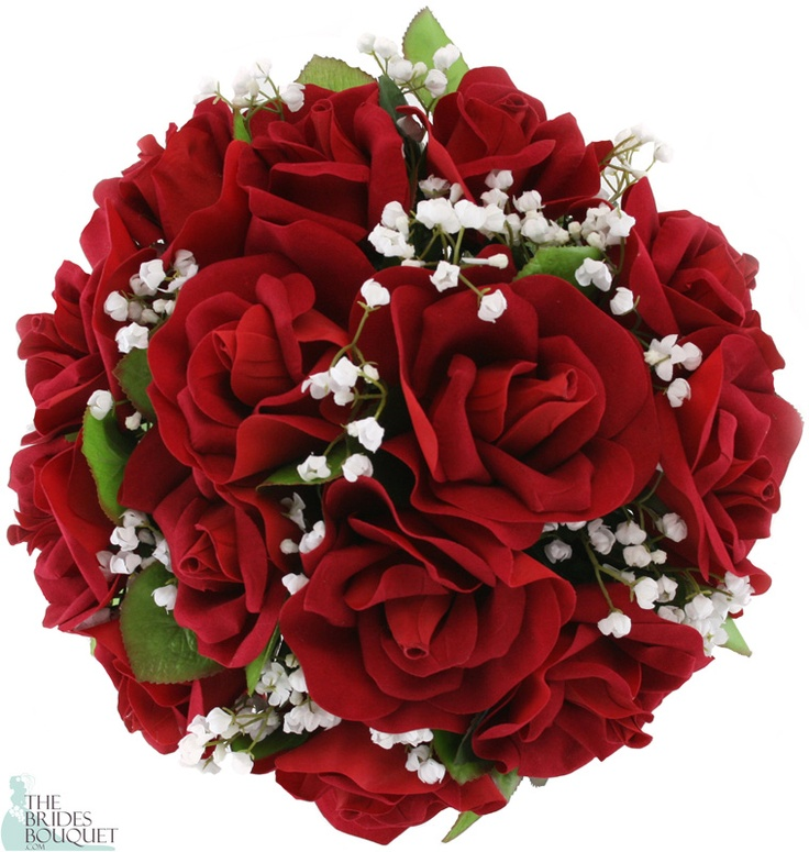 Royal Red Silk Rose Nosegay - Wedding Bouquet