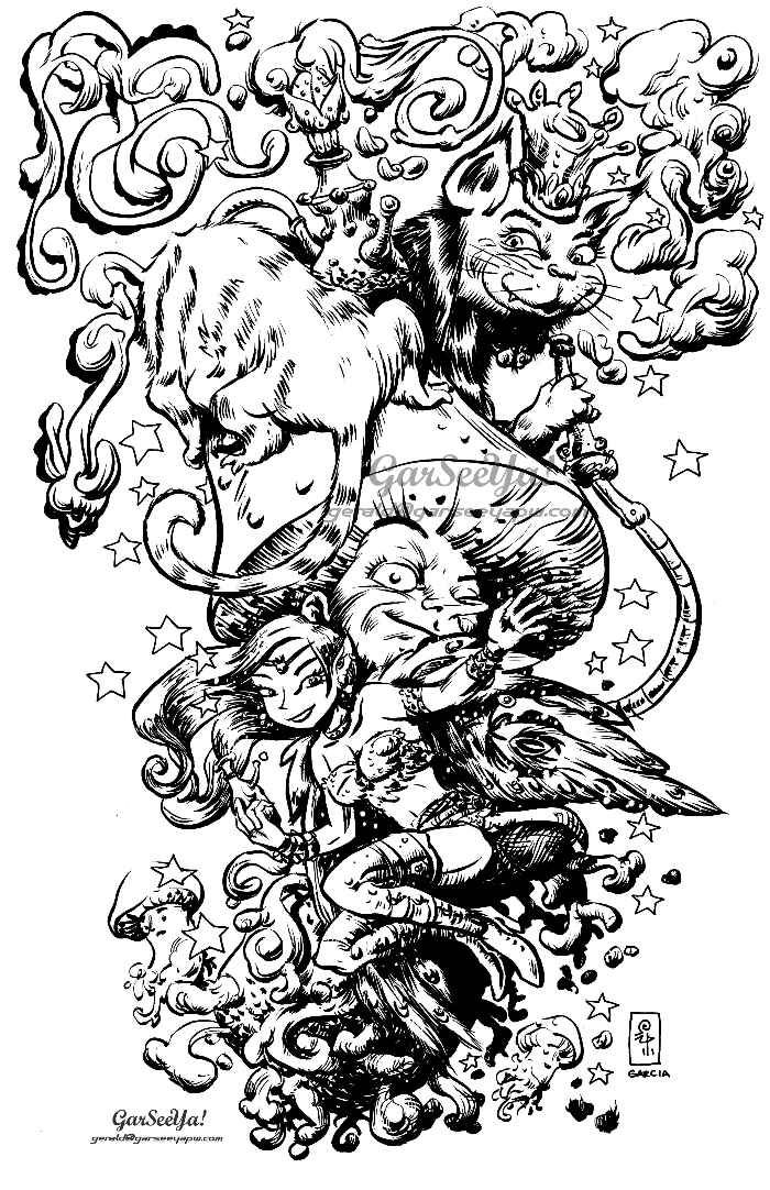 coloring pages for adults finished   Trippy Coloring Pages   finished inks done mostly with a ...