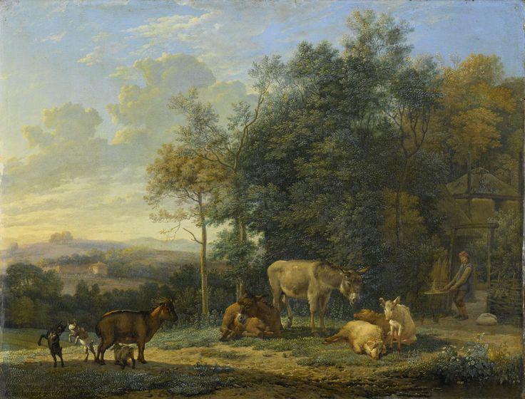 Karel Dujardin | Landscape with Two Donkeys, Goats and Pigs, Karel Dujardin, 1655 | Beesten op het erf van een Italiaanse boerderij: een geit met drie bokjes, twee ezels en drie varkens. Bij het hek voor de boerderij scheidt een boer het kaf van het koren.