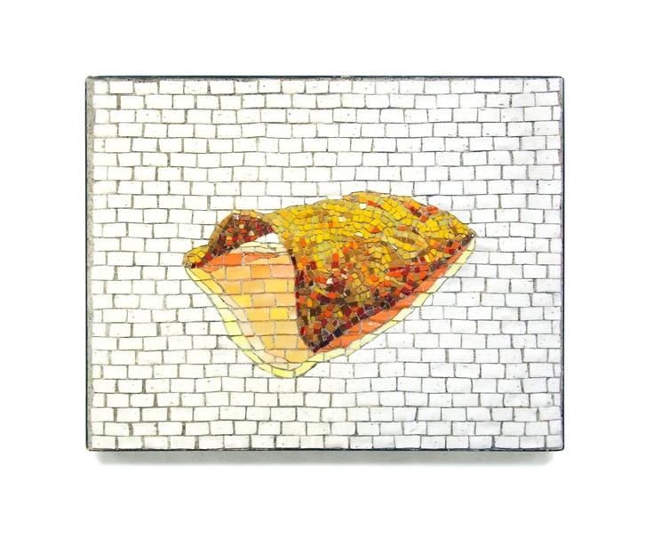 """""""Super-realistic Dorito""""  11"""" x 14""""    2012    Smalti  http://restreet.altervista.org/jim-bachor-ripara-le-buche-delle-strade-con-i-mosaici/"""