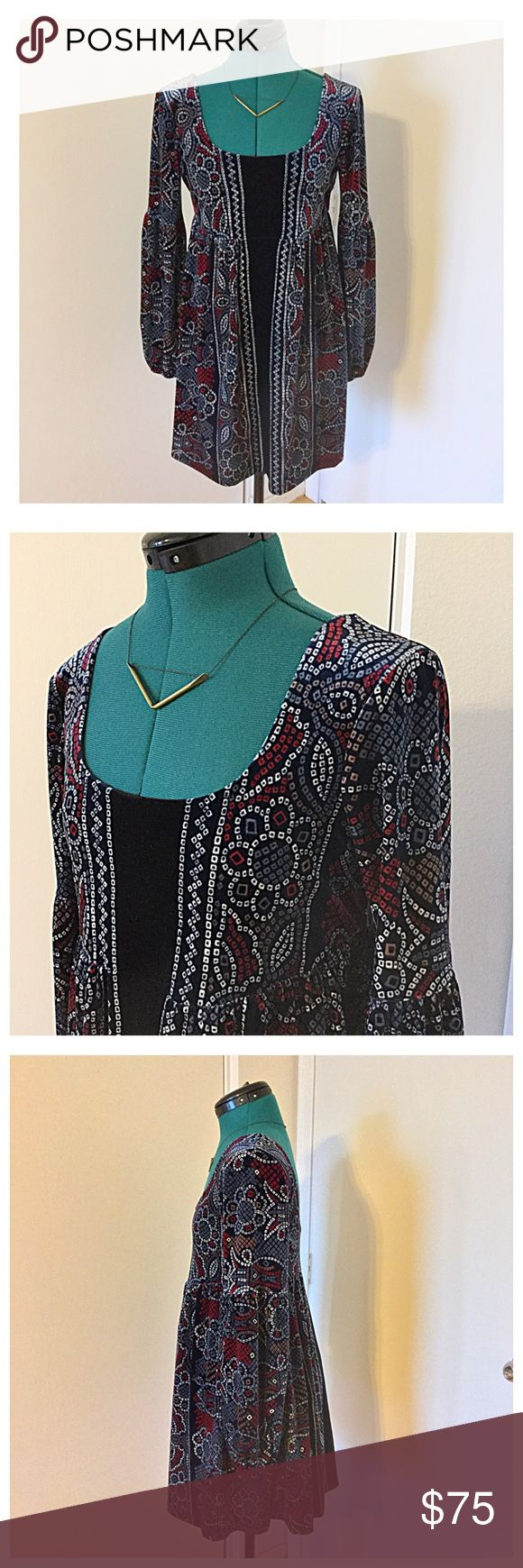 Free People Boho Velvet Dress Ahhhhhmazing dress that in all its 90's throwback glory. Beautiful soft velvet in dark bold jewel tones. Would look great with opaque tights or bare legged with black ankle boots. Open to reasonable offers. No trades. Free People Dresses