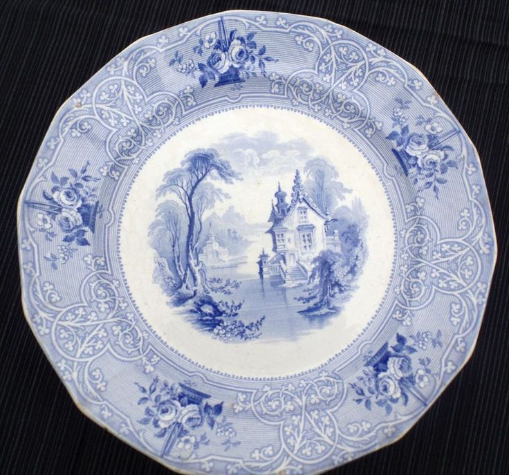 Antique Blue Roselle 10 5 Quot Ironstone Transferware Plate J