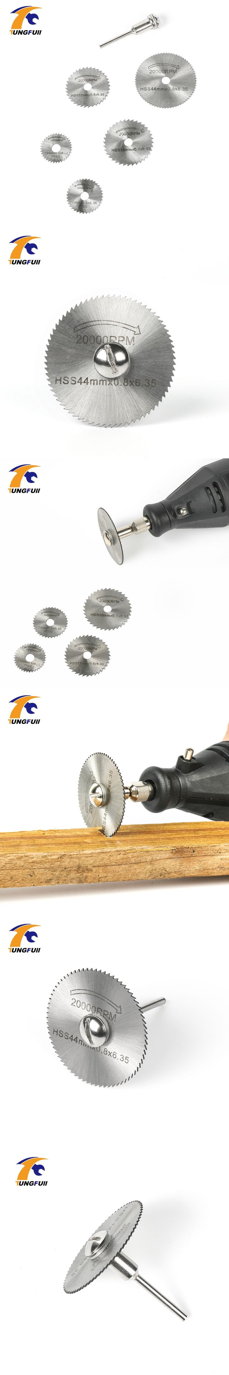 6pc HSS Saw Blades For Metal & Dremel Rotary tools (Electric grinding mill cutting discs hanging 5 saws+1Rod)