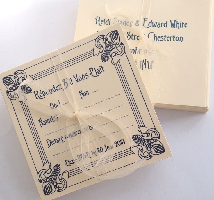 Art Deco Wedding Reply Cards in our Flourish design, shown here in with printed envelopes.  Also supplied were Square Invitations and Information sheets, all printed in Navy ink onto Cream card, paper and envelopes.  Available in your choice of ink colour on white, ivory or cream card.