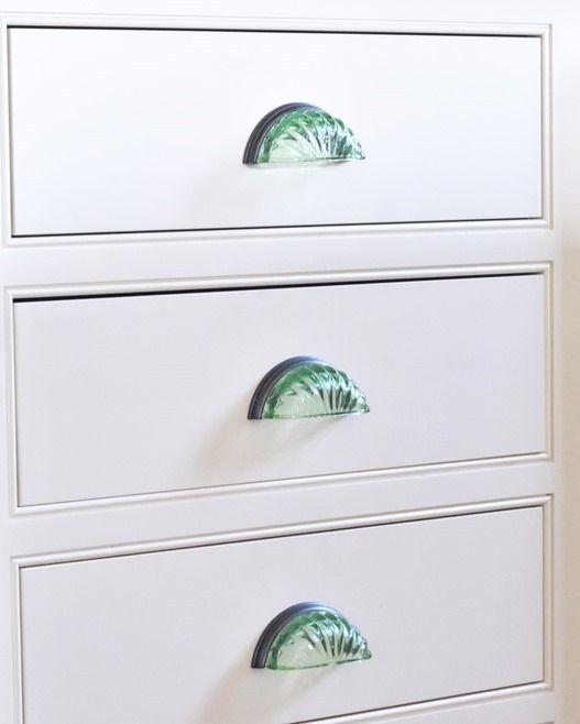 sea glass drawer pulls on cabinets in kitchen to match backsplash