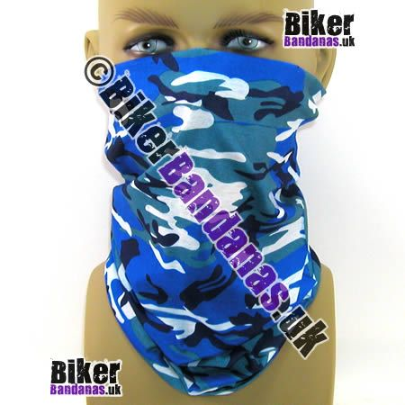 Rich Blue Camouflage Multifunctional Headwear / Neck Tube Bandana.  One of over 400 Styles for Men and Women