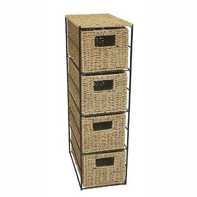 Jvl seagrass 4 #drawer tower storage basket unit with #metal #frame. free deliver,  View more on the LINK: 	http://www.zeppy.io/product/gb/2/162096823824/