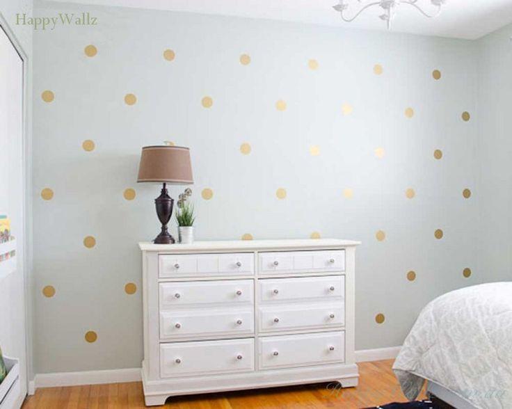 Gold Polka Dots Spots Wall Sticker