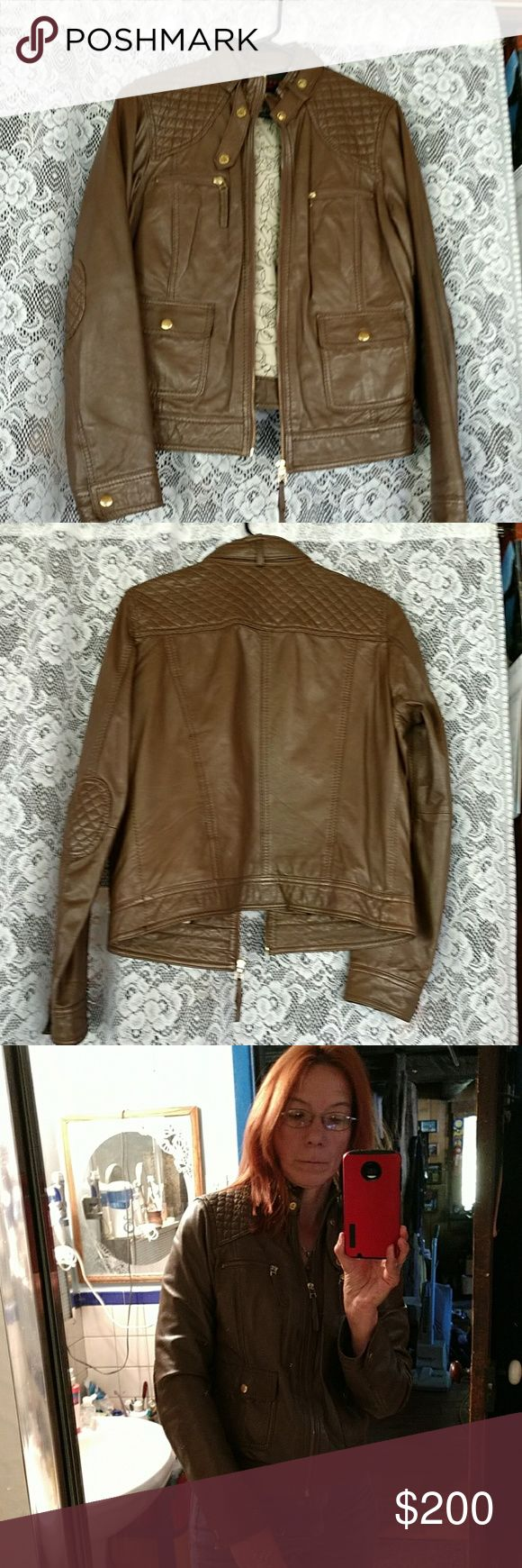 Oakwood fast label leather jacket Very, very nice  leather jacket from Oakwood. Has only worn a few times! All zippers and snaps work. Nice and warm. Size large but to me fits like a medium. Oakwood Jackets & Coats
