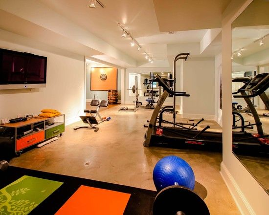 129 best images about home gym on pinterest exercise for Basement workout room ideas