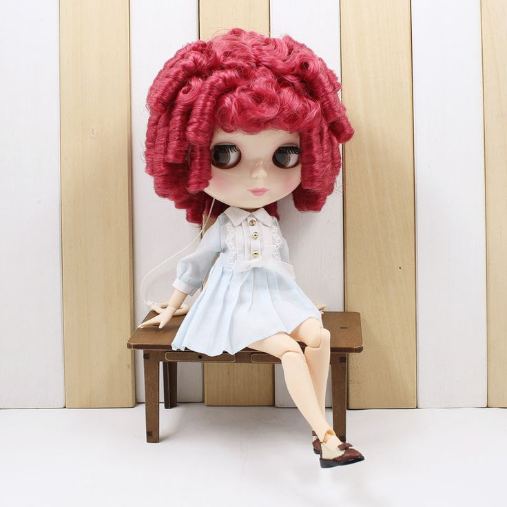 Nude Neo joint blyth doll curly Rose red hair icy doll suitable diy doll #doll