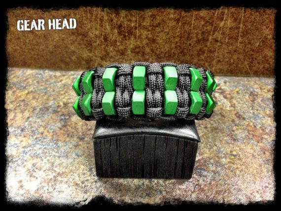 Sales Page - Just pinned for the image to show you another cool crafting idea. This paracord bracelet uses hex nuts instead of beads for a really cool look. #ParacordBraceletHQ