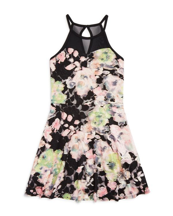 Sally Miller Girls' Abstract Floral Lace Dress - Sizes S-xl | Lace and mesh: polyester/spandex; lining: polyester | Hand wash | Made in USA | Fits true to size | Scoop neck, sleeveless with skinny str