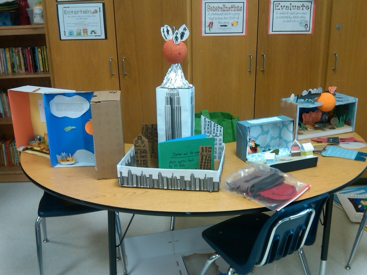"""Examples of student diorama projects for """"James and the Giant Peach"""" by Roald Dahl."""