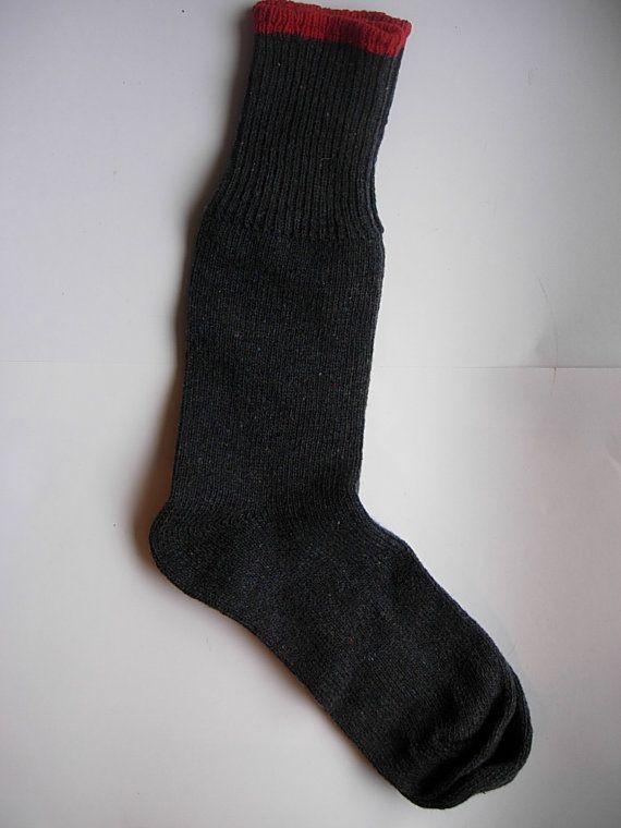 123.63 kr. Wonderful Heavy 1940s Wool Two Tone Socks  by AmericanVintagePDX