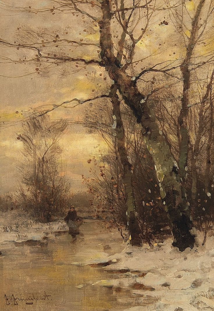 A River Landscape in Winter, Johann Jungblut. Germany (1860 - 1912)