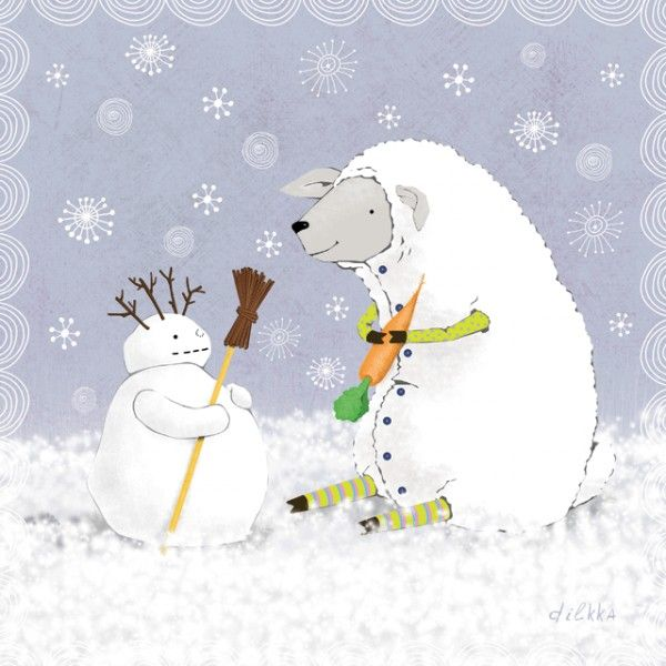 Lamb and snowman - Postcards, Christmas and New Year