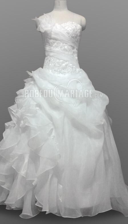 Col en coeur applique robe de mariée broderies satin bretelle amovible [#ROBE209239] - robedumariage.com