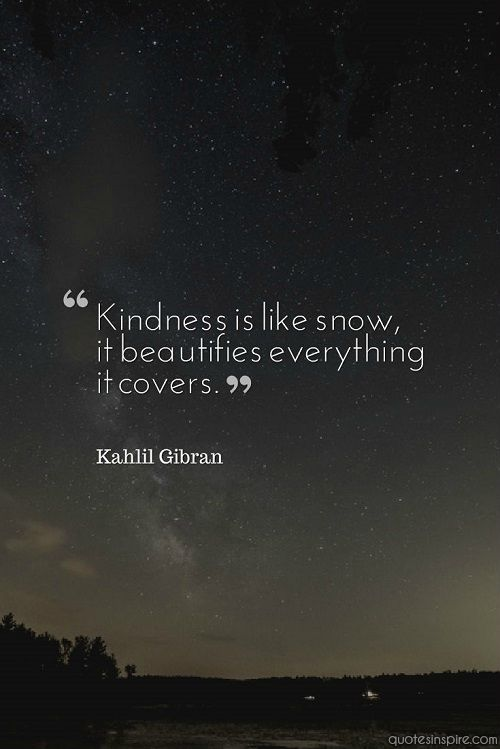 Kindness is like snow, it beautifies everything it covers. Kahlil Gibran