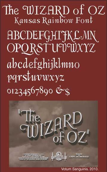 The Original Wizard Of Oz Font - 1939 Movie Title Typography