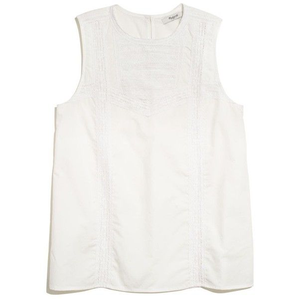 MADEWELL Lace-Trim Tank ($60) ❤ liked on Polyvore featuring tops, tank tops, shirts, tops & sweaters, pure white, a line shirt, white lace top, white shirt, white top and madewell shirt