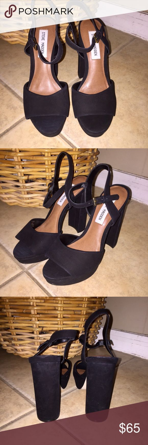 STEVE MADDEN Kierra Platform Sandal Black Suede BRAND NEW Steve Madden Kierra platform heels in a gorgeous black suede. These shoes are perfect for any casual or formal outing and match with almost anything. Fit true to size! These are a steal! In stores for $99. Make an offer💞 Steve Madden Shoes Platforms