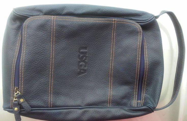 Links & Kings USGA Leather Golf Shoes Bag Spikes Cleats PGA Tour Navy Blue EUC #LinksandKings