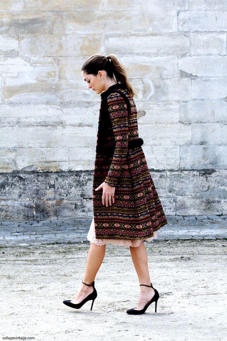 femenino no convencional, con un toque de textura y color!! me encantan los zapatos!!! y la puntilla que sobresale del espectacular sobretodo!