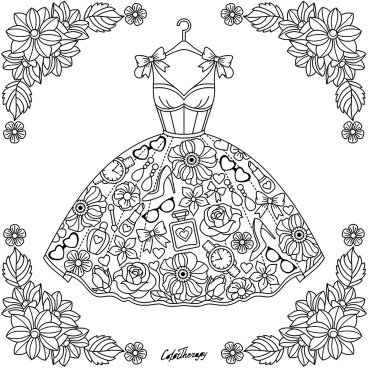 floral fashion coloringpages - Fashion Coloring Pages