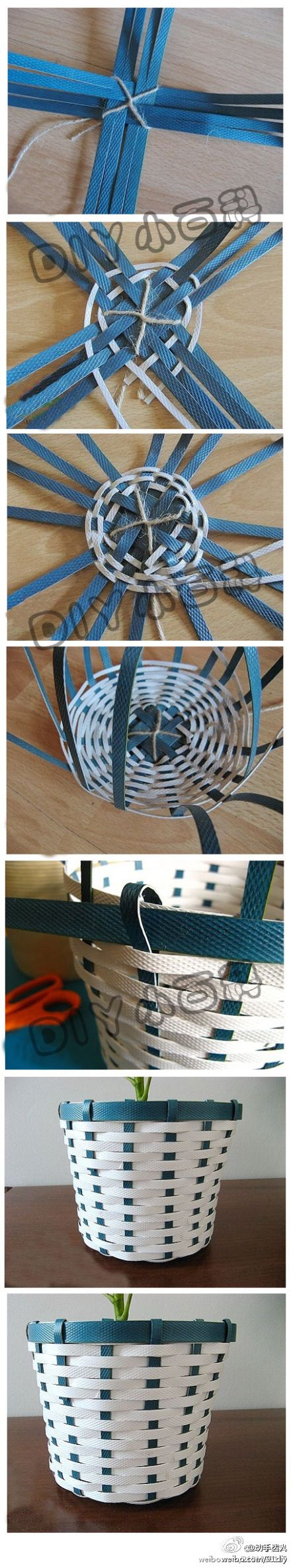 Basket From recycled packing materials.                              …