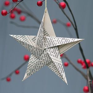 Personalised Dictionary Star Decoration - tree decorations