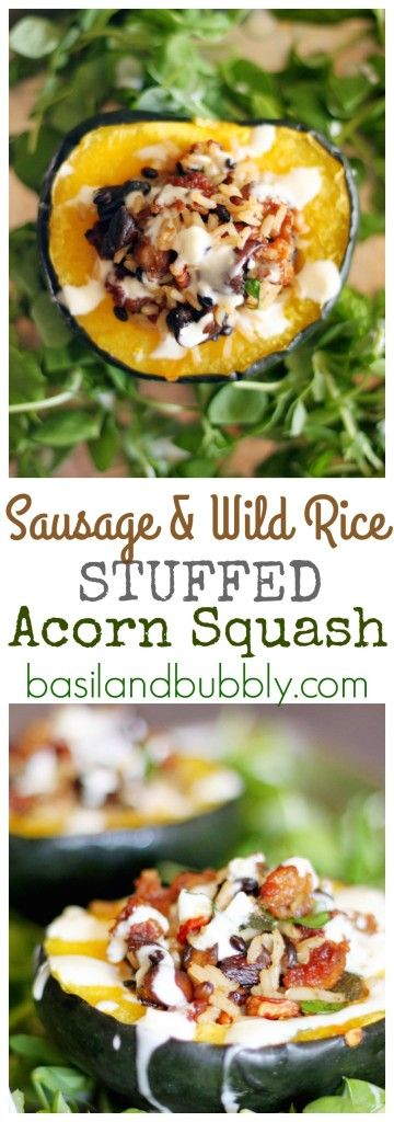 Sausage and Wild Rice Stuffed Acorn Squash with a Lemon Garlic drizzle. A delicious, savory, Fall comfort food recipe!