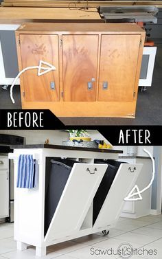 DIY Furniture Hacks |   Garage Sale Cabinet into Kitchen Stand  | Cool Ideas for Creative Do It Yourself Furniture Made From Things You Might Not Expect - http://diyjoy.com/diy-furniture-hacks