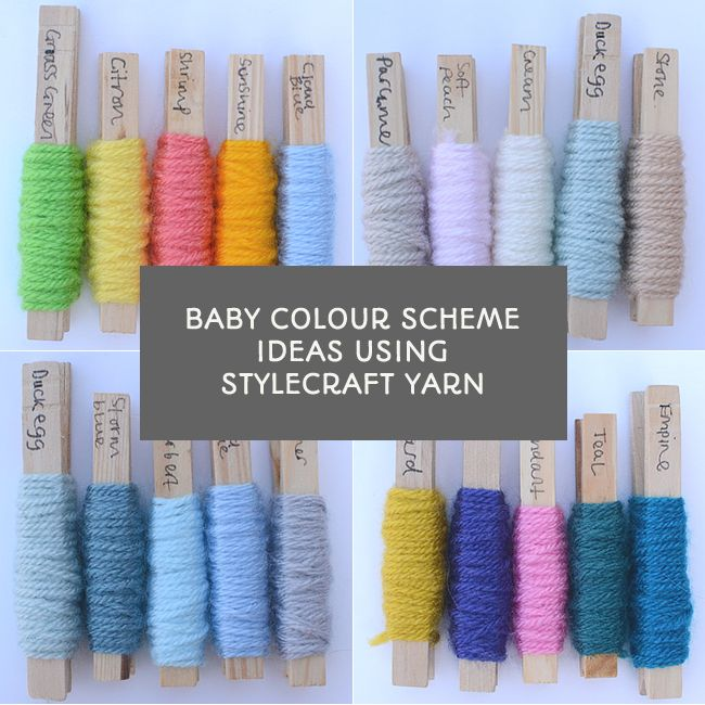 Baby colour scheme ideas using Stylecraft Yarn's Special DK collection. Post from This Little Space of Mine