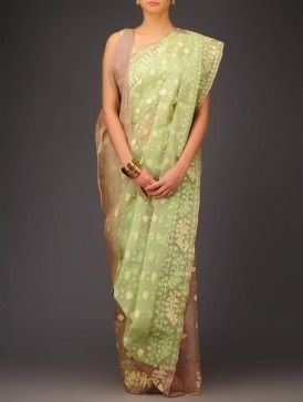Beige-Green Cotton Jamdani Saree