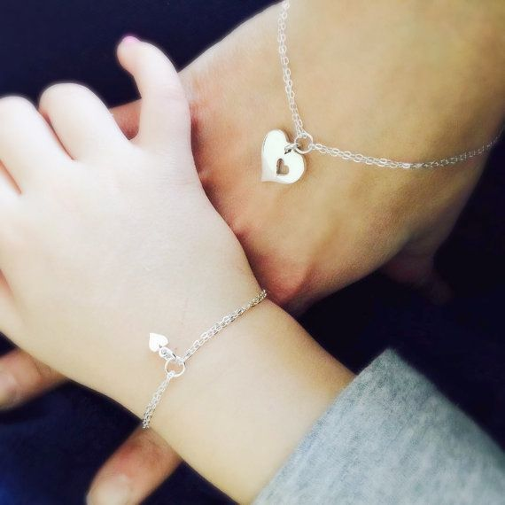 Mother Daughter Bracelet set Two heart bracelets Mother and
