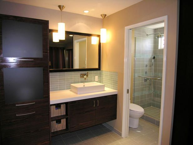 Master Bath - love the gray - green tiles, dark wood, white counters and that storage cabinet! love the shower!